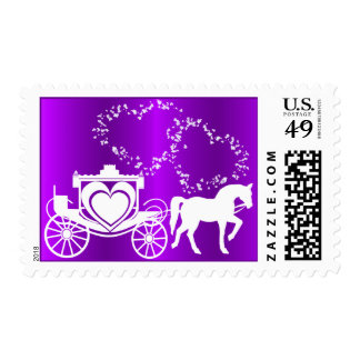 Story Book Carriage Purple Postage Stamp