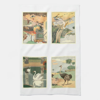 Story Book Illustrated Birds Kitchen Towel