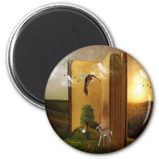 Story Book with Eagle Flying, Squirrel and Deer by 2 Inch Round Magnet