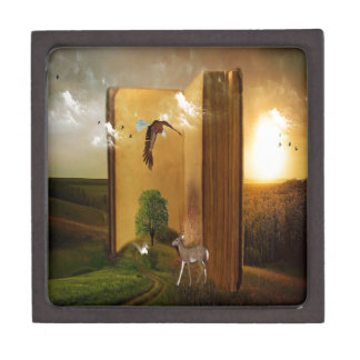 Story Book with Eagle Flying, Squirrel and Deer by Gift Box