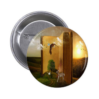 Story Book with Eagle Flying, Squirrel and Deer by Pinback Button