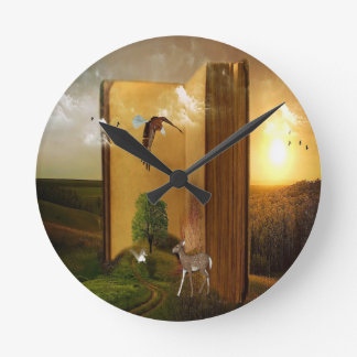 Story Book with Eagle Flying, Squirrel and Deer by Round Clock