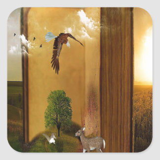 Story Book with Eagle Flying, Squirrel and Deer by Square Sticker