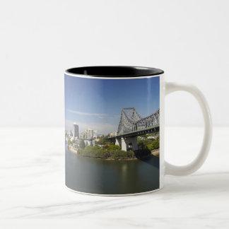 Story Bridge, Brisbane River, and Kangaroo Two-Tone Coffee Mug