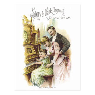 Story & Clark Organ Co., The First Lesson Postcard