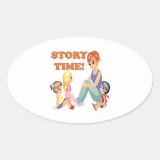 Story Time 3 Oval Sticker