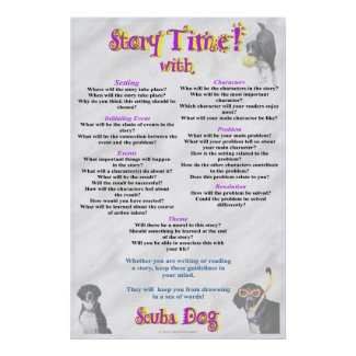 Story Time With Scuba Dog Poster print