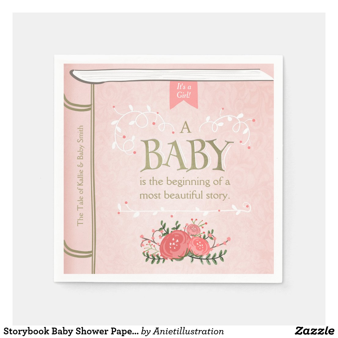 Storybook Baby Shower Paper Napkin Pink Girl