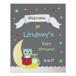 Storybook Baby Shower Poster with Owls