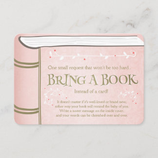 Storybook Bring a book Vintage Pink and Gold Enclosure Card
