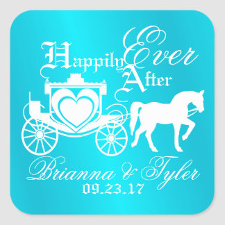 Storybook Carriage Happily Ever After Square Sticker