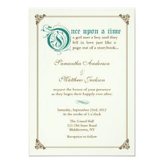 "Storybook Fairytale Wedding Invitation - Dark Teal 5"" X 7"" Invitation Card"
