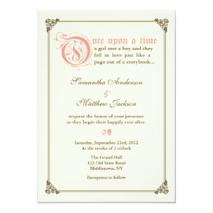 storybook fairytale wedding invitation pink