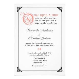 Storybook Fairytale Wedding Invitation -Pink Black