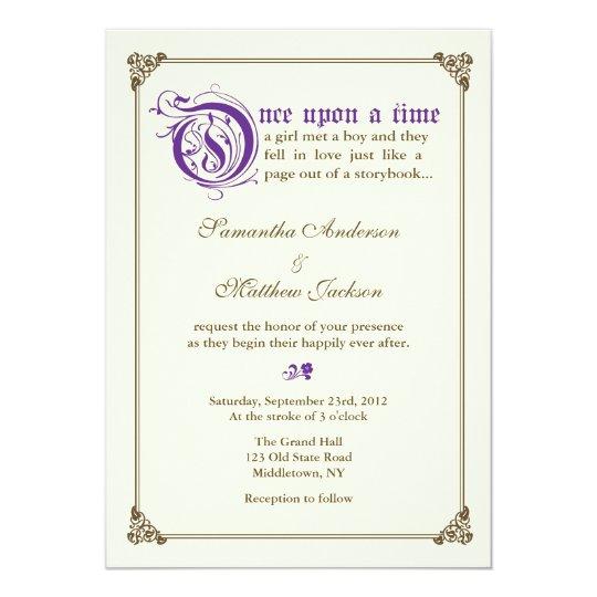 storybook fairytale wedding invitation purple - Fairy Tale Wedding Invitations