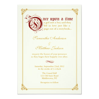 Storybook Fairytale Wedding Invitation -Red/Gold