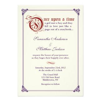 Storybook Fairytale Wedding Invitation -Red Purple