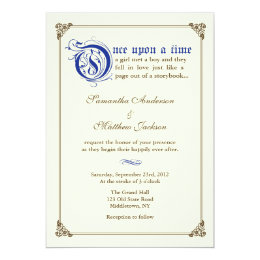Storybook Fairytale Wedding Invitation  Royal Blue ...