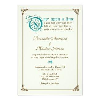 Storybook Fairytale Wedding Invitation - Teal