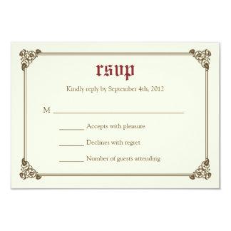 Storybook Fairytale Wedding RSVP Card - Burgundy