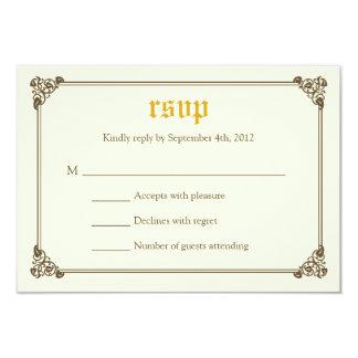 Storybook Fairytale Wedding RSVP Card - Gold