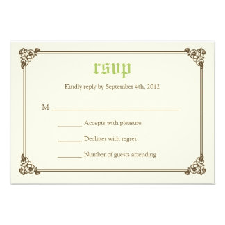 Storybook Fairytale Wedding RSVP Card - Green Announcements