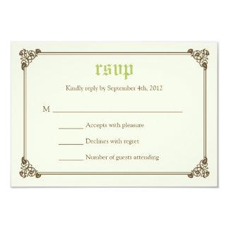 "Storybook Fairytale Wedding RSVP Card - Green 3.5"" X 5"" Invitation Card"