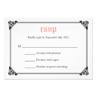 Storybook Fairytale Wedding RSVP Card - Pink Black