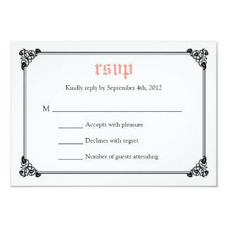 "Storybook Fairytale Wedding RSVP Card - Pink/Black 3.5"" X 5"" Invitation Card"
