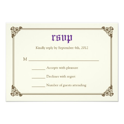 wedding rsvp card purple 3 5 x 5 invitation card zazzle