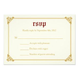 Storybook Fairytale Wedding RSVP Card - Red Gold
