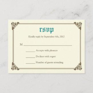 Storybook Fairytale Wedding RSVP Card - Teal