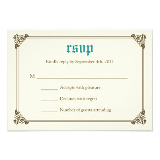 Storybook Fairytale Wedding RSVP Card - Teal Custom Announcements