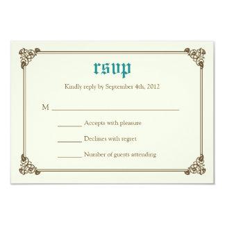 "Storybook Fairytale Wedding RSVP Card - Teal 3.5"" X 5"" Invitation Card"