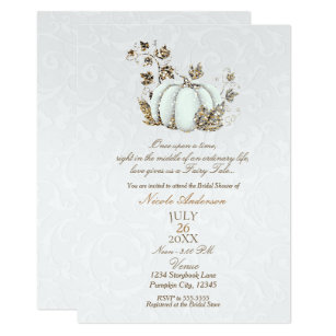 Storybook Gold White Pumpkin Fairy Tale Bridal Invitation