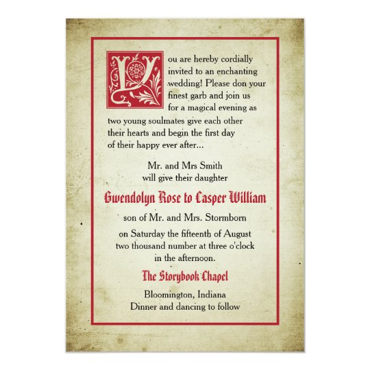 28 Best Medieval Wedding Invitations Images On Pinterest: Fairytale Wedding Parents Give Card