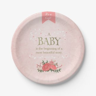 Storybook Paper Plates Baby shower Girl Pink Gold