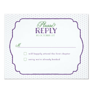 Storybook Romance Reply Cards - Purple & Green