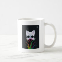 cat, kitten, paint, rainbow, cuddly, sugar, fueled, sugarfueled, coallus, michael, banks, sweets, candy, pop, surrealism, popsurrealism, lowbrow, cupcake, ice, cream, sprinkles, animals, bubbles, dark, creepy, cute, big, eye, eyes, candyart, candyland, animal, ilovecats, cats, kittens, cherry, white, sweet, love, heart, Caneca com design gráfico personalizado