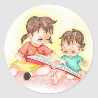 Storytime - Little Loves Art Round Sticker