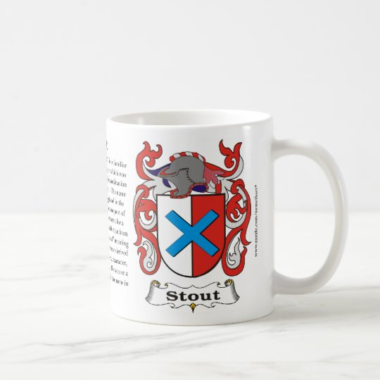 Stout, the Origin, the Meaning and the Crest on a Coffee Mug