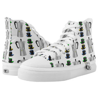 Stove Top Espresso Make And Cups Pattern High-Top Sneakers