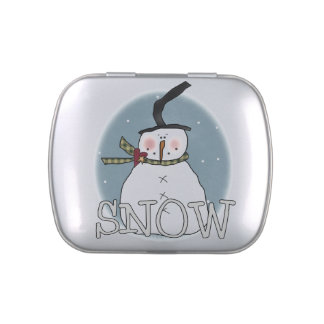 Stovepipe Hat Snowman Tins and Jars w Candy Jelly Belly Tins