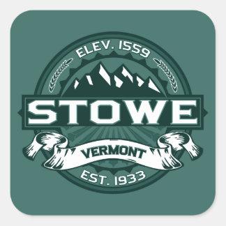 Stowe Logo Vermont Green Square Sticker