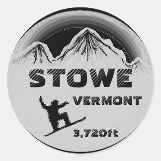 Stowe Vermont black gray snowboard art stickers