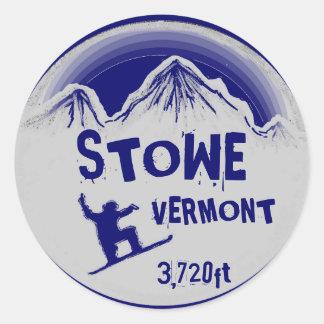 Stowe Vermont blue gray snowboard art stickers