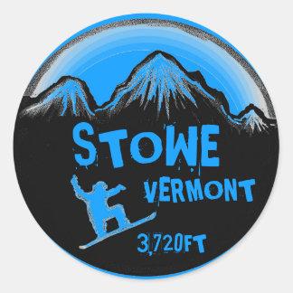 Stowe Vermont blue snowboard art stickers
