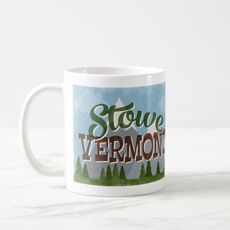 Stowe Vermont Fun Retro Snowy Mountains Coffee Mug
