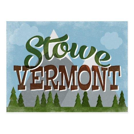 Stowe Vermont Fun Retro Snowy Mountains Postcard