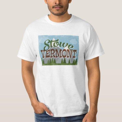 Stowe Vermont Fun Retro Snowy Mountains T-Shirt